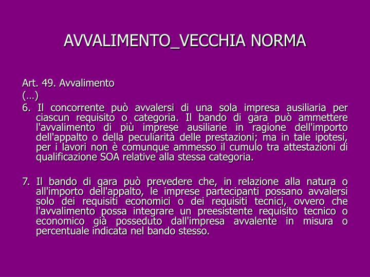 AVVALIMENTO_VECCHIA NORMA