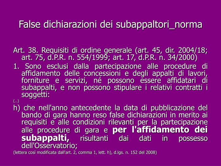 False dichiarazioni dei subappaltori_norma