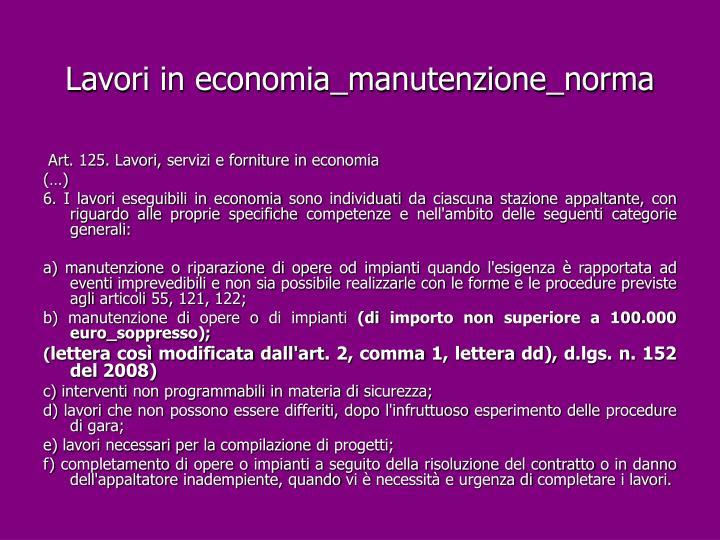Lavori in economia_manutenzione_norma