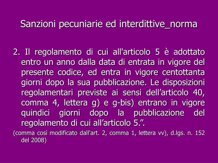Sanzioni pecuniarie ed interdittive_norma