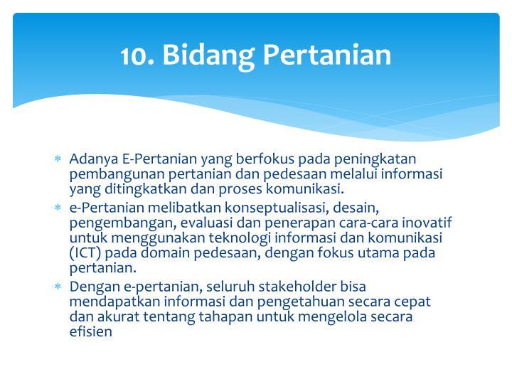 10. Bidang Pertanian