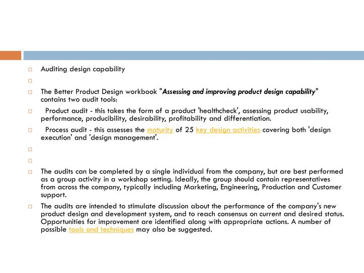 Auditing design capability