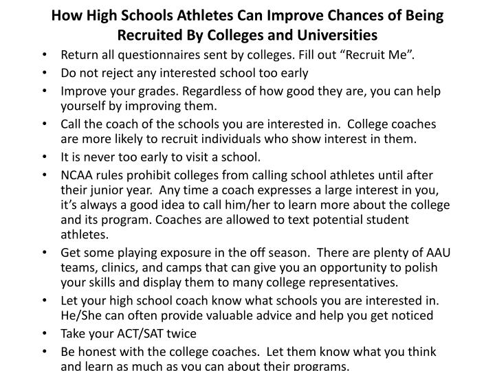 How High Schools Athletes Can Improve Chances of Being Recruited By Colleges and Universities