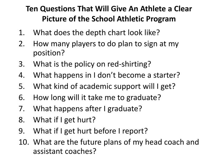 Ten Questions That Will Give An Athlete a Clear Picture of the School Athletic Program