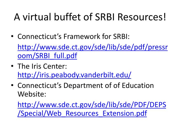 A virtual buffet of SRBI Resources!