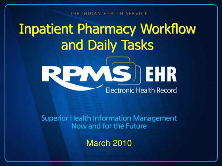 Inpatient Pharmacy Workflow and Daily Tasks