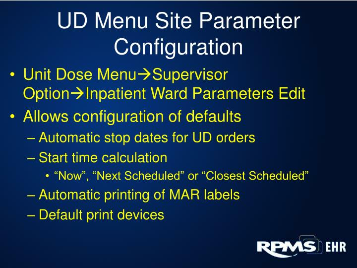 UD Menu Site Parameter Configuration