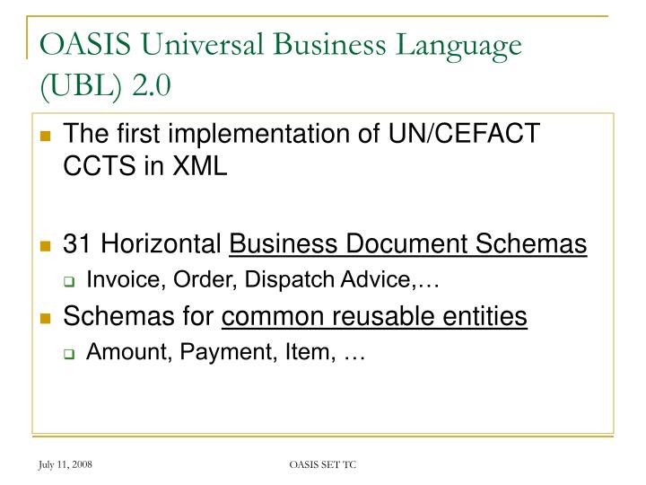 OASIS Universal Business Language (UBL) 2.0