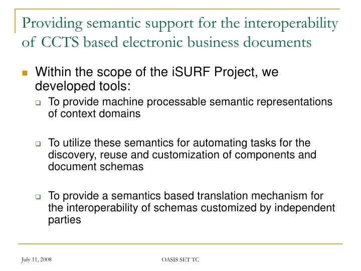 Providing semantic support for the interoperability of CCTS based electronic business documents