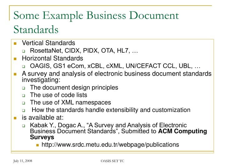 Some Example Business Document Standards
