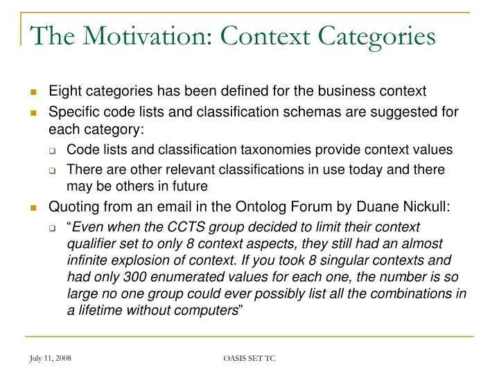 The Motivation: Context Categories