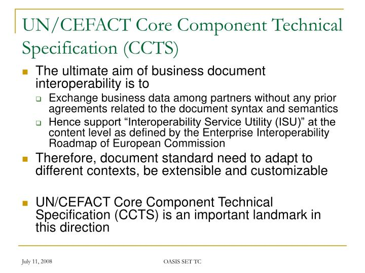 UN/CEFACT Core Component Technical Specification (CCTS)