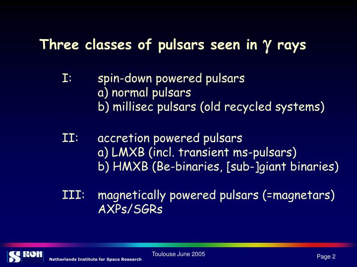 Three classes of pulsars seen in