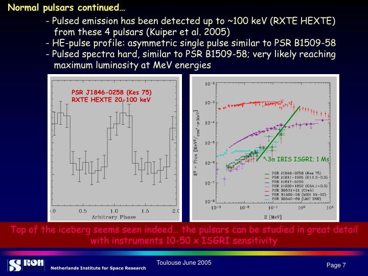 Normal pulsars continued…