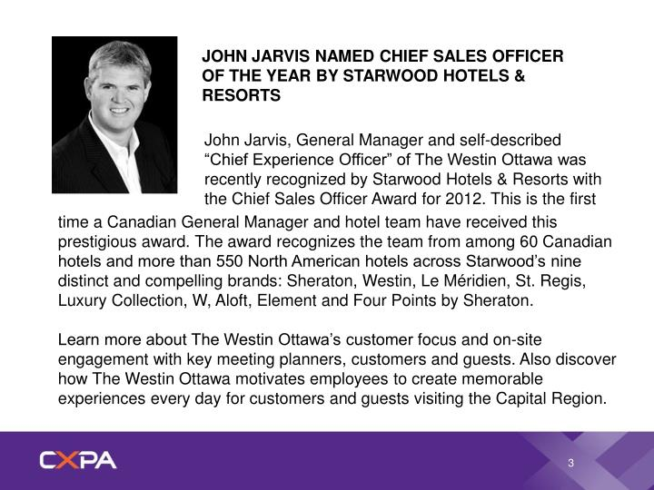 JOHN JARVIS NAMED CHIEF SALES OFFICER OF THE