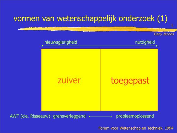 vormen van wetenschappelijk onderzoek (1)