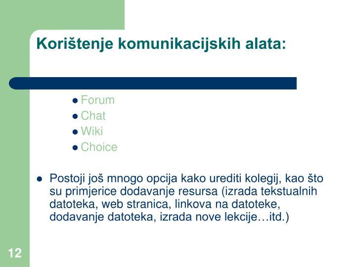 Korištenje komunikacijskih alata: