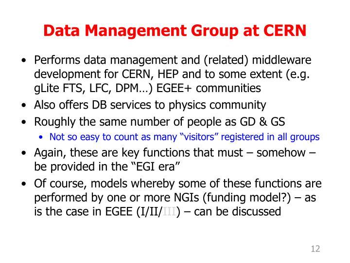 Data Management Group at CERN