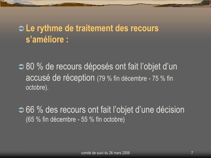 Le rythme de traitement des recours s'améliore :