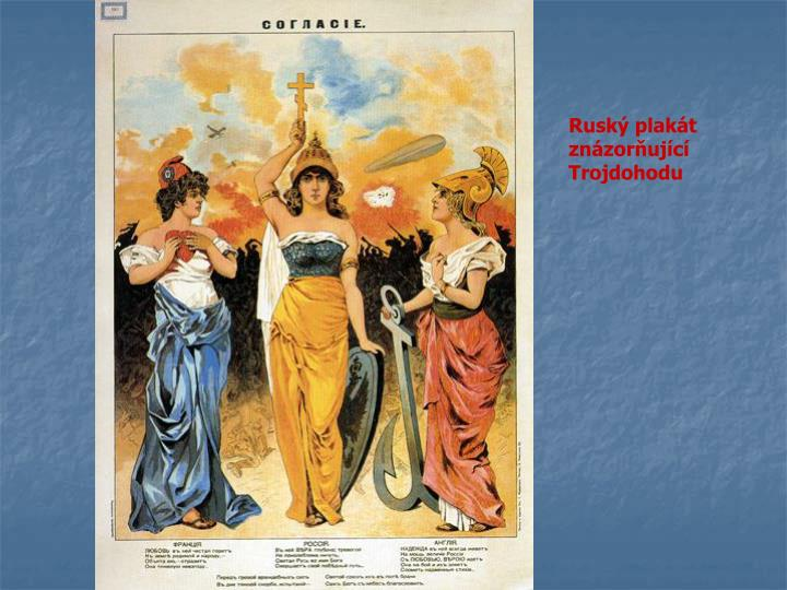 Ruský plakát znázorňující Trojdohodu