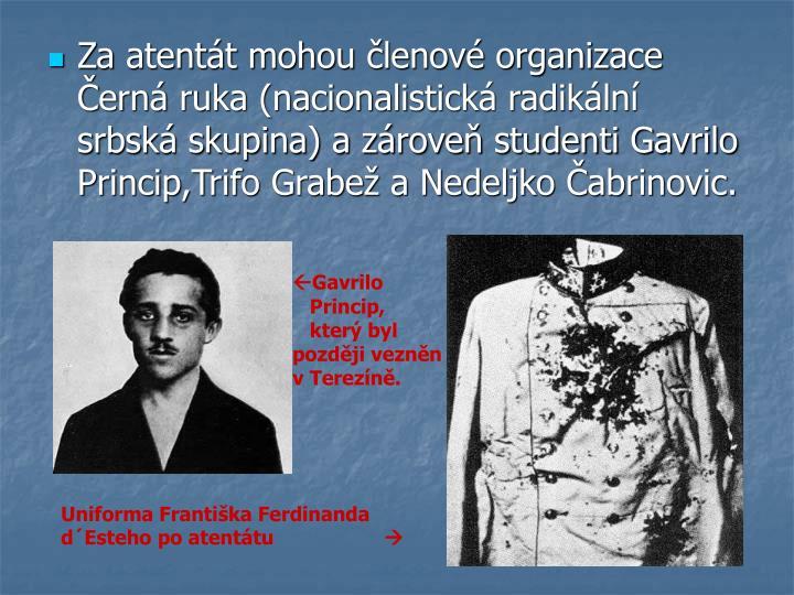 Za atentát mohou členové organizace Černá ruka (nacionalistická radikální srbská skupina) a zároveň studenti Gavrilo Princip,Trifo Grabež a Nedeljko Čabrinovic.