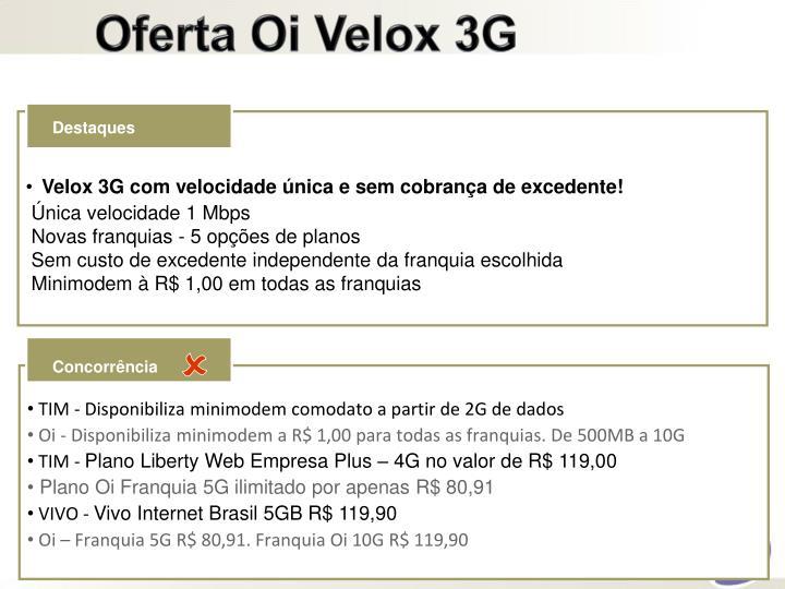 Oferta Oi Velox 3G