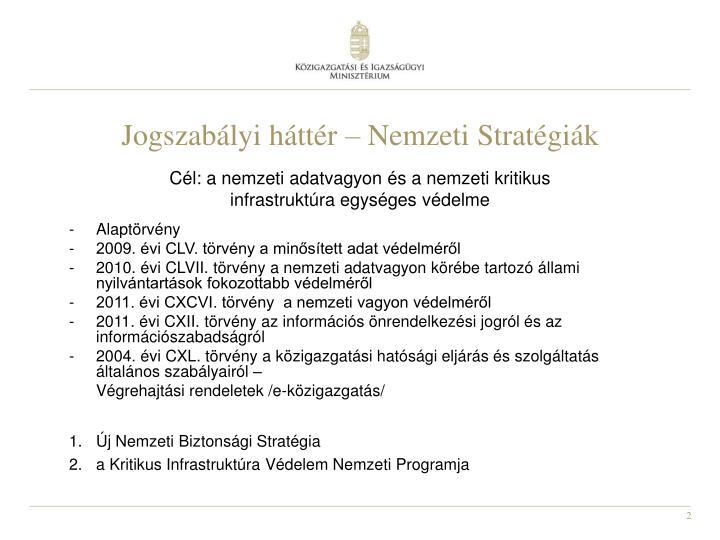 Jogszabályi háttér – Nemzeti Stratégiák