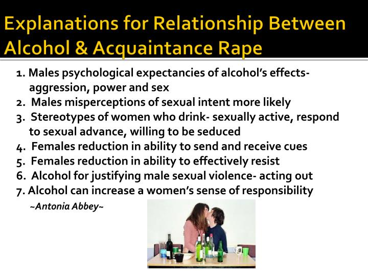 1. Males psychological expectancies of alcohol's effects- aggression, power and sex
