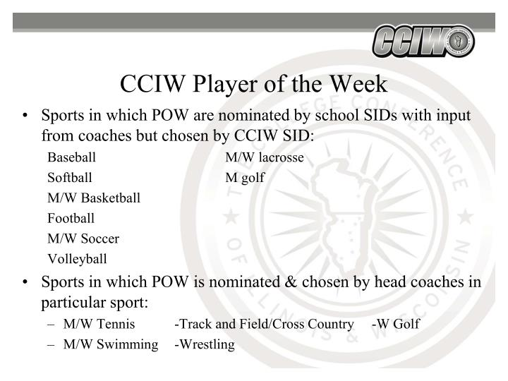 CCIW Player of the Week