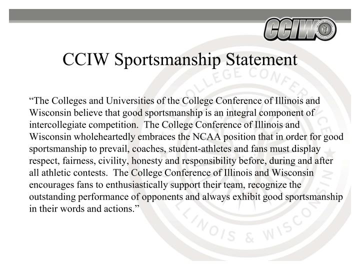 CCIW Sportsmanship Statement