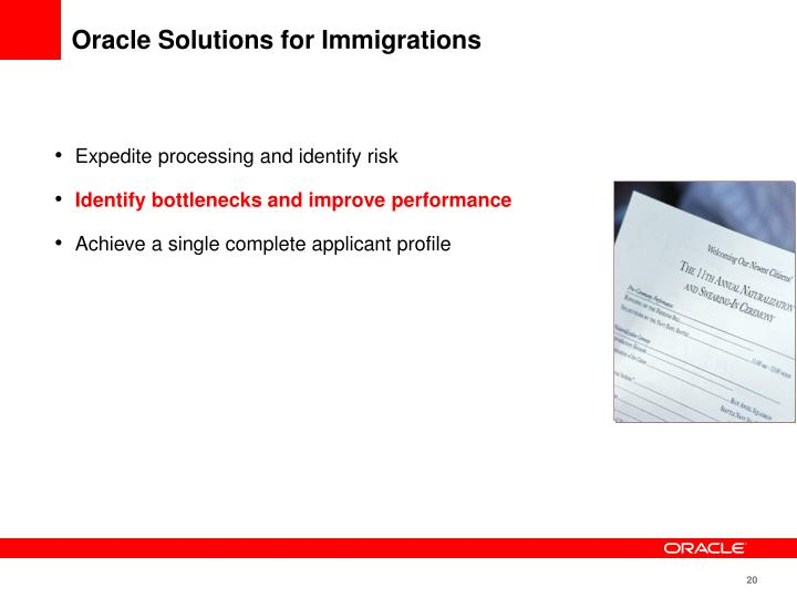 Oracle Solutions for Immigrations
