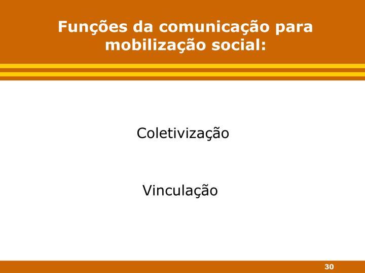 Funções da comunicação para mobilização social: