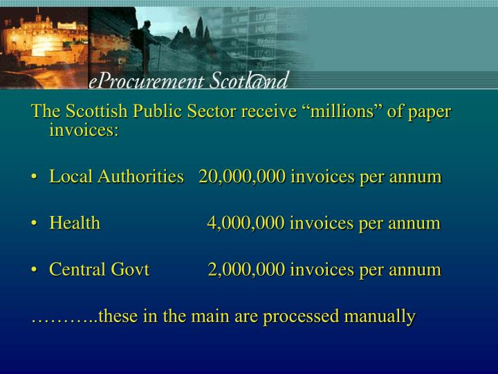 "The Scottish Public Sector receive ""millions"" of paper invoices:"