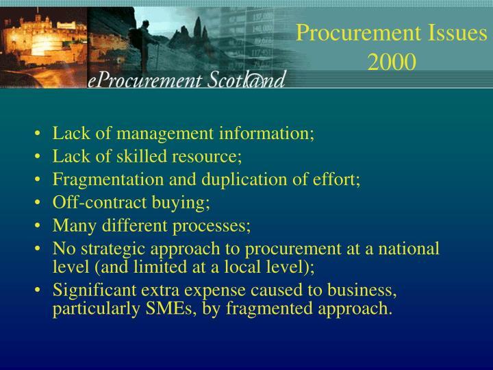 Lack of management information;
