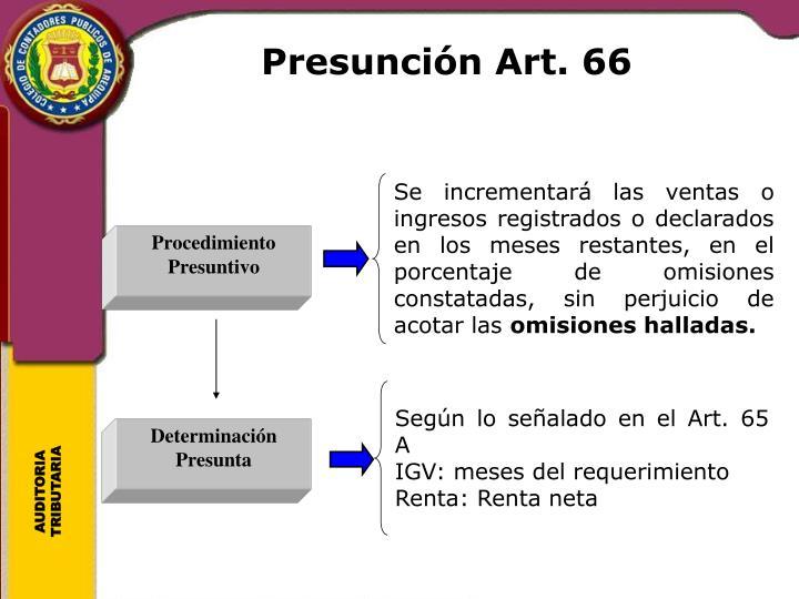 Presunción Art. 66