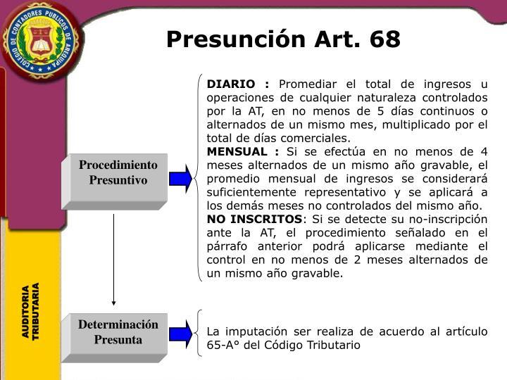 Presunción Art. 68