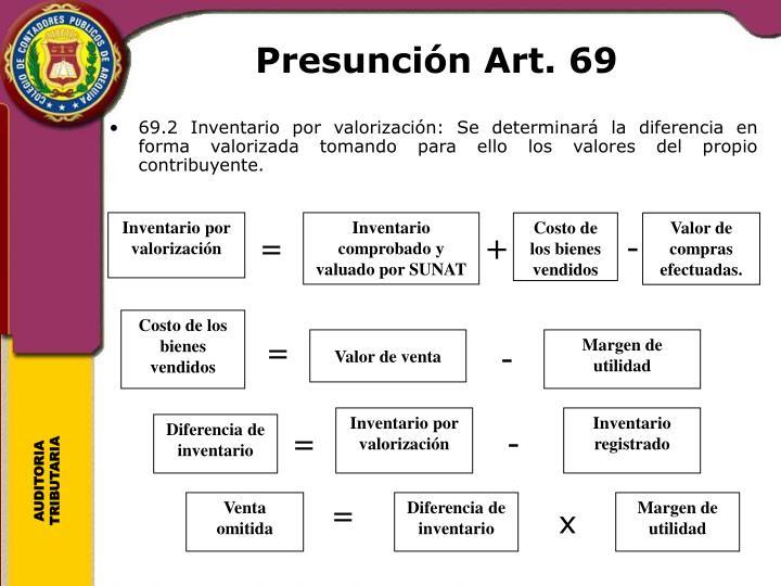 Presunción Art. 69