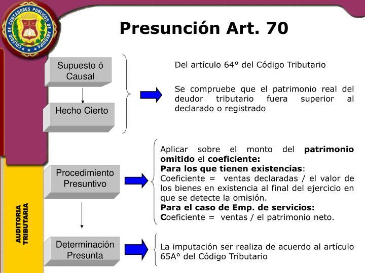Presunción Art. 70