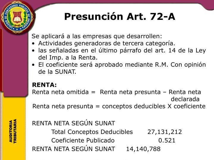Presunción Art. 72-A