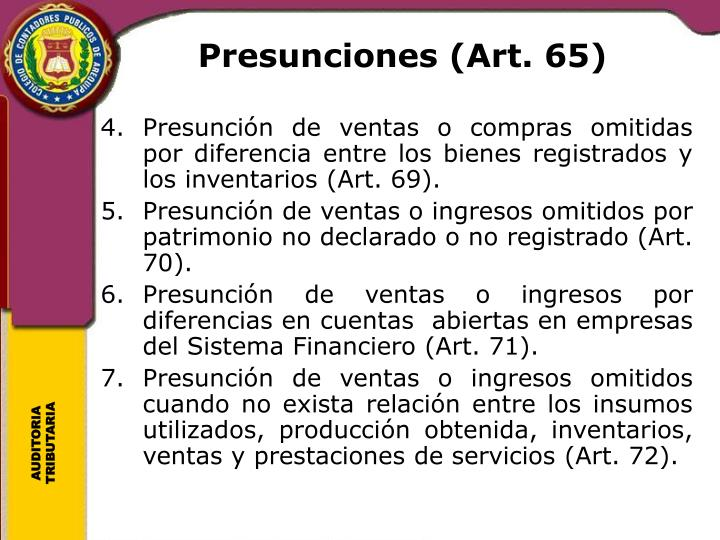 Presunciones (Art. 65)