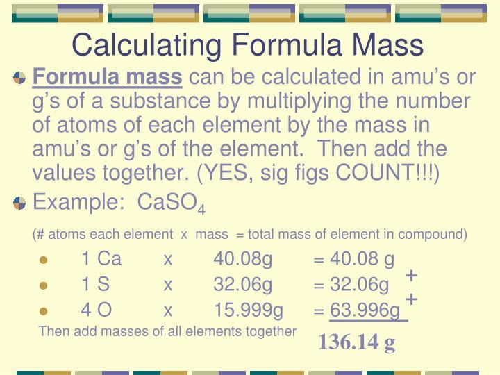 Calculating Formula Mass