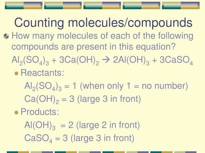 Counting molecules/compounds