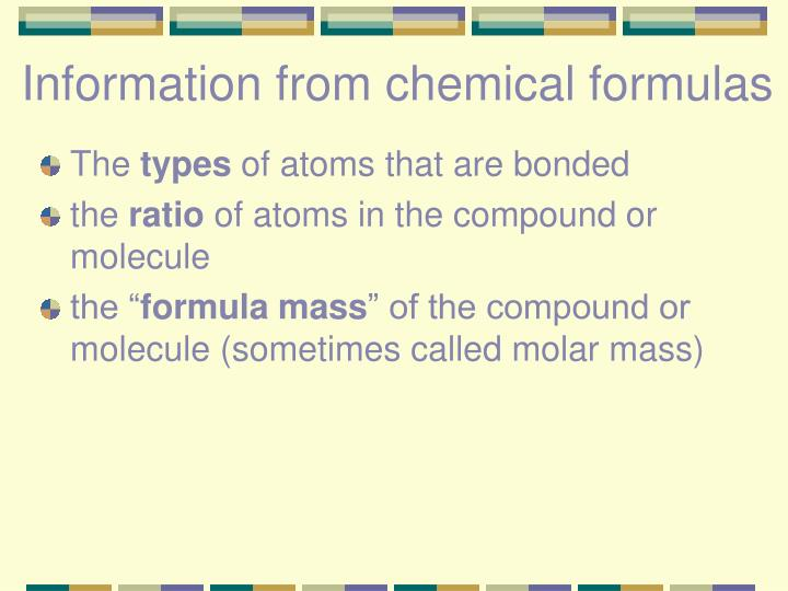 Information from chemical formulas