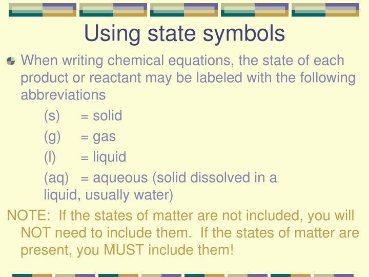Using state symbols