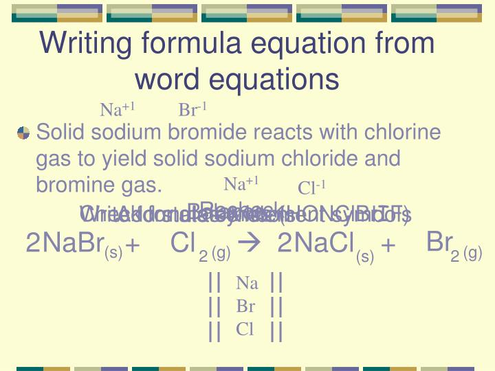 Writing formula equation from word equations