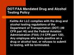 dot faa mandated drug and alcohol testing policy