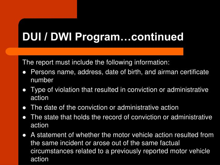 DUI / DWI Program…continued
