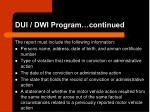 dui dwi program continued