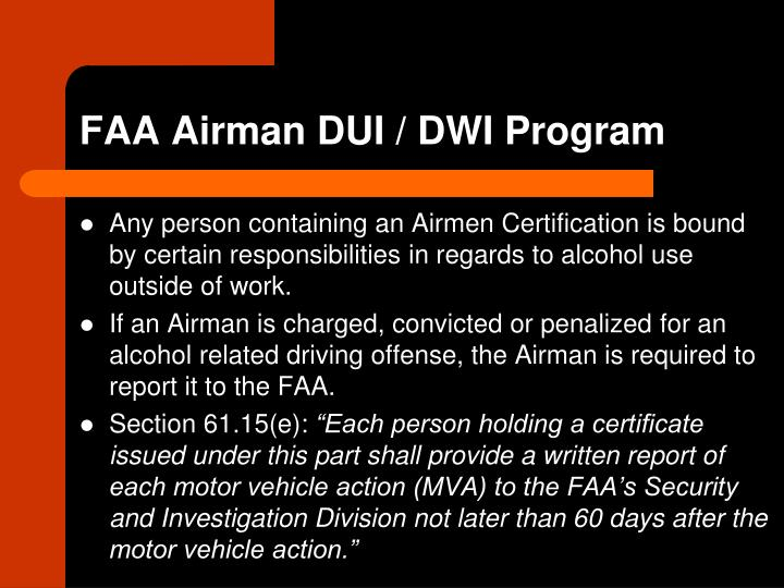 FAA Airman DUI / DWI Program