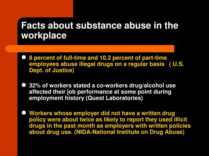 Facts about substance abuse in the workplace